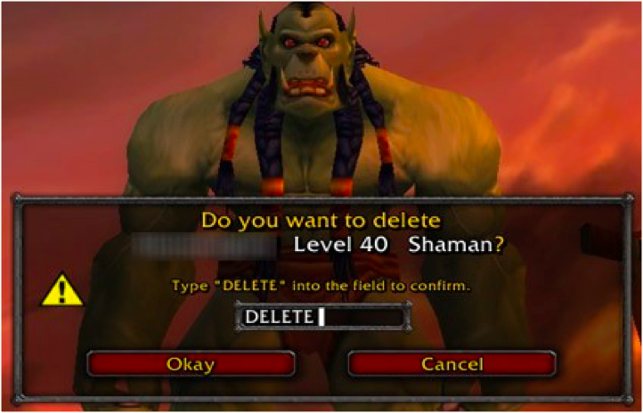 """Delete Avatar"" Dialog Box from World of Warcraft for Ethics in the Videogame Industry article by Celia Hodent, PhD"
