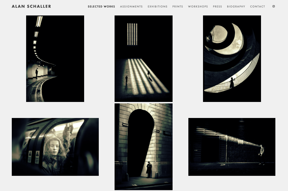 Screenshot of photography website design for Alan Schaller
