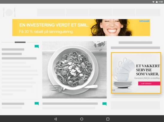Google Adsense illustrasjon av annonser på nettside