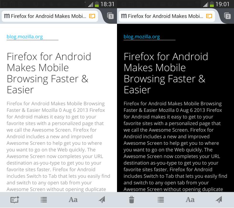 Firefox za Android - Reader v temnem in svetlem načinu