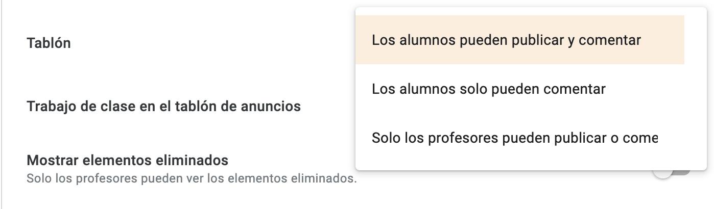 Trucos para sacar el máximo provecho a Google Classroom. Elige el tipo de comunicación que van a tener los alumnos
