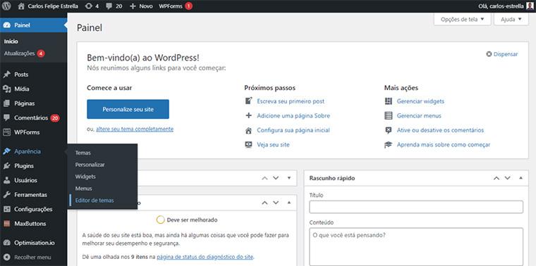 editor de temas do wordpress