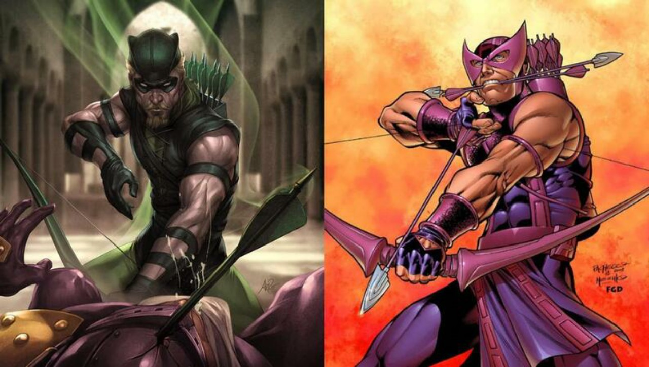 Green Arrow and Hawkeye - similar DC and Marvel Characters