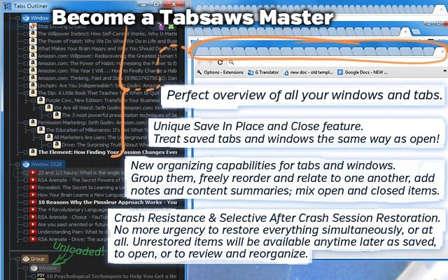 Tabs Outliner Screenshot