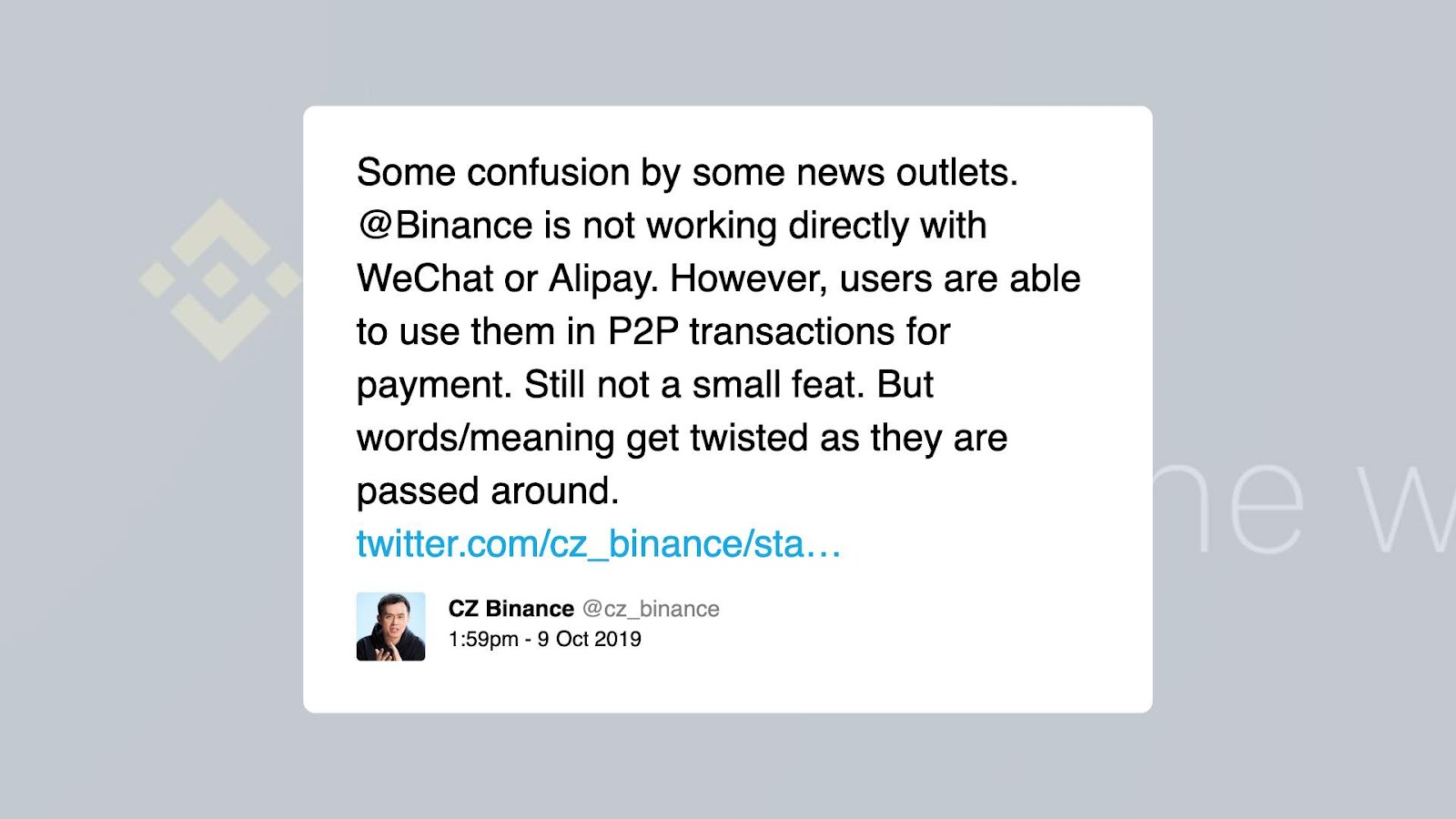 Binance including Alipay and also WeChat on-ramps relieving crypto gain access to for 1.4 billion Chinese 1