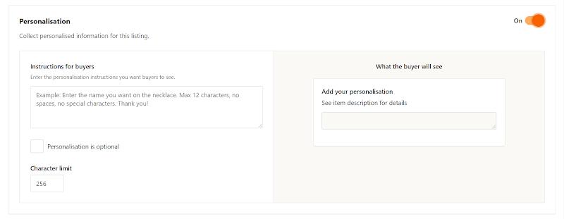 Personalization options