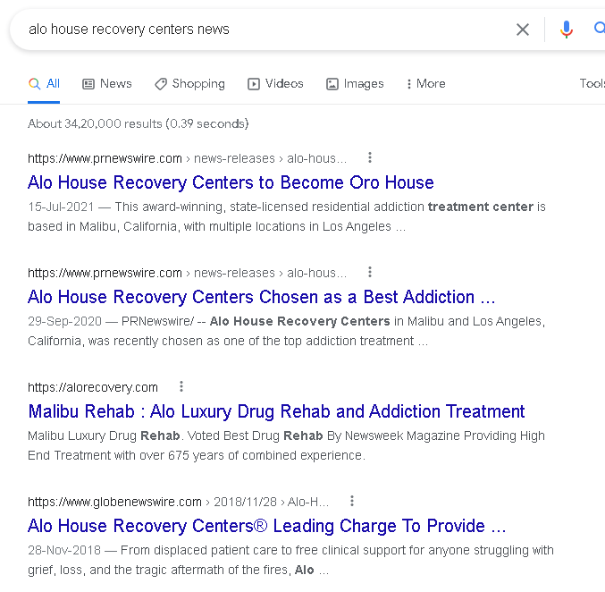 Oro House Recovery Centers (previously Alo House Recovery Centers) review