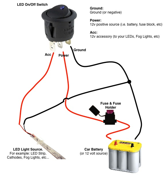 [SCHEMATICS_4CA]  On/Off Switch & LED Rocker Switch Wiring Diagrams | Oznium | 12 Volt Dc Switch Wiring Diagram |  | Oznium