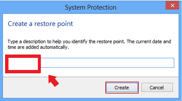 Create a restore point - step 7