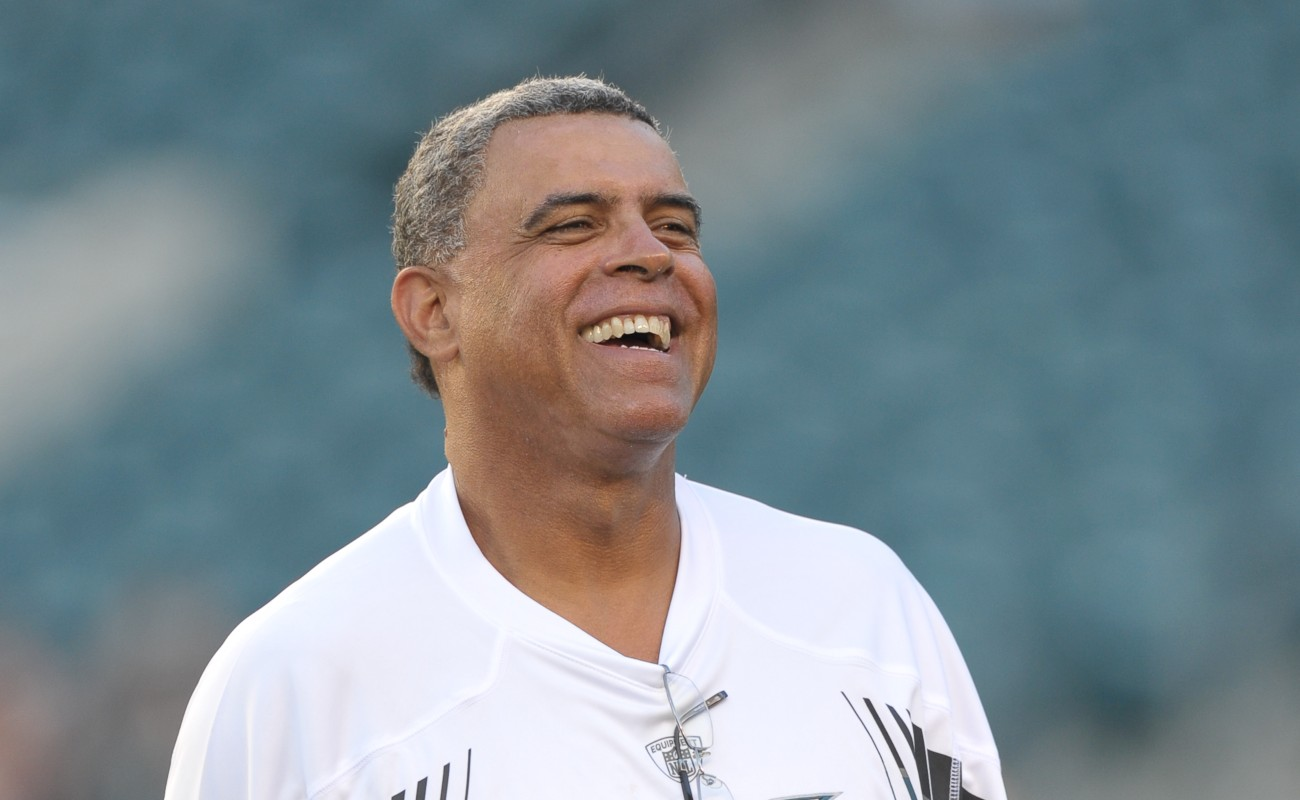 Wide receivers coach David Culley of the Philadelphia Eagles laughs before the game against the Baltimore Ravens at Lincoln Financial Field on August 11, 2011, in Philadelphia, Pennsylvania. The Eagles won 13-6. (Photo by Drew Hallowell/Philadelphia Eagles/Getty Images)