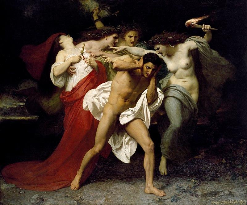 """""""Раскаяние Ореста, или Орест, преследуемый Эриниями"""", А.В. Бугро, 1862"""