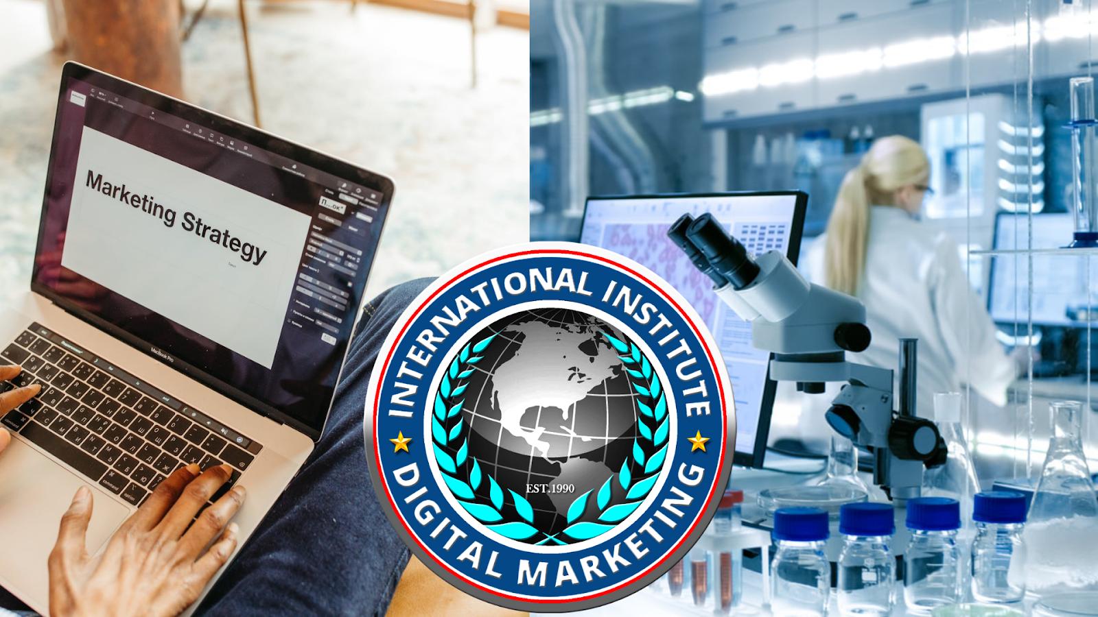 marketing strategies, international institute of digital marketing logo, medical laboratory