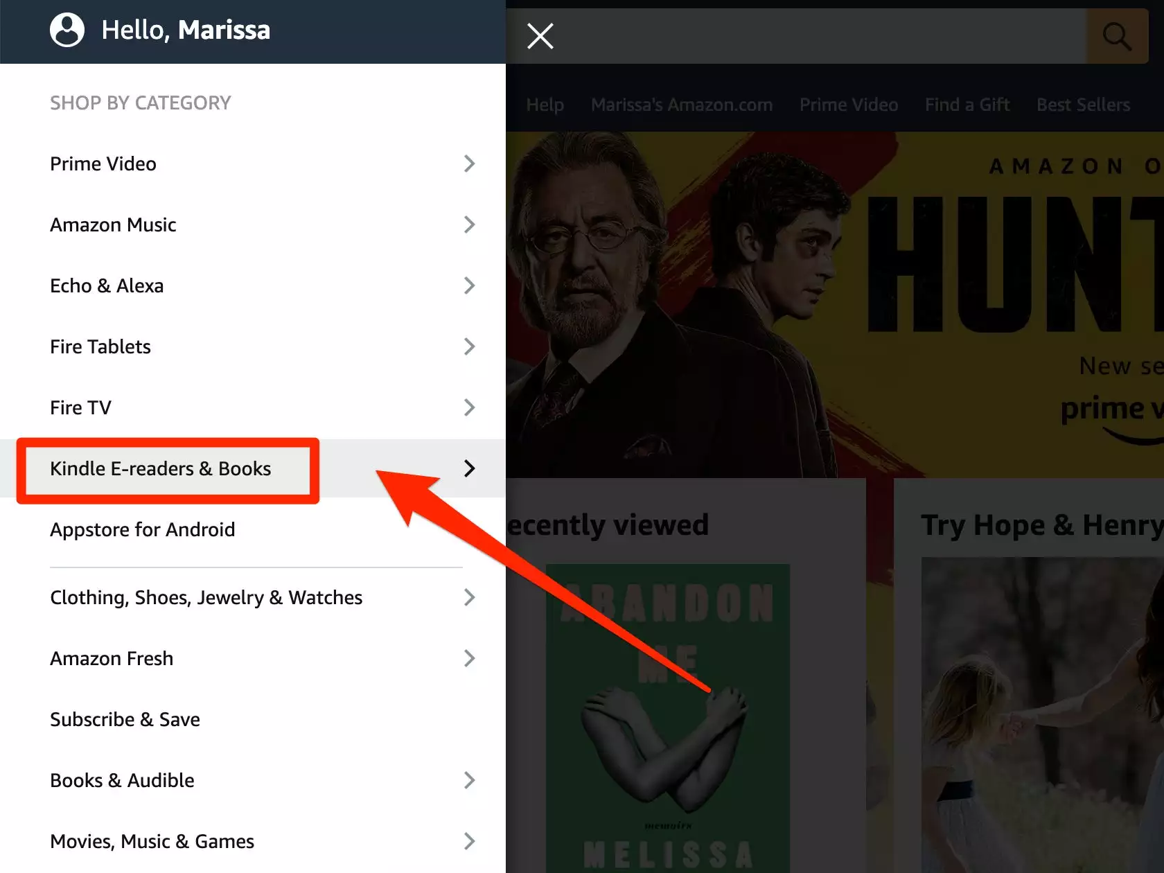 """Step 3: Next, click """"Kindle E-readers & Books"""" below the """"Shop by Category"""" section."""
