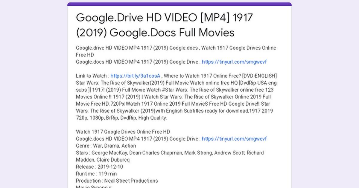 Google Drive Hd Video Mp4 1917 2019 Google Docs Full Movies