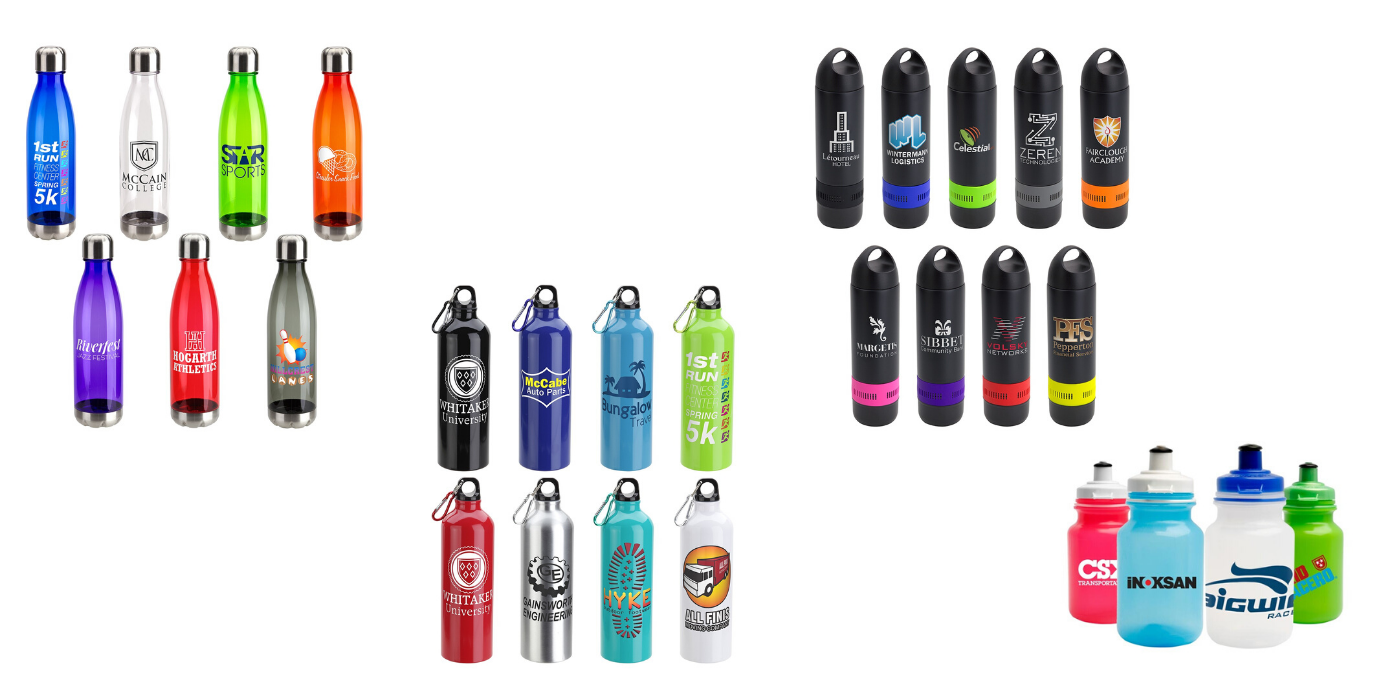 corporate reusable bottles with logo decal