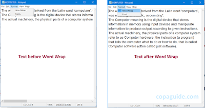 How to use Word Wrap in Notepad