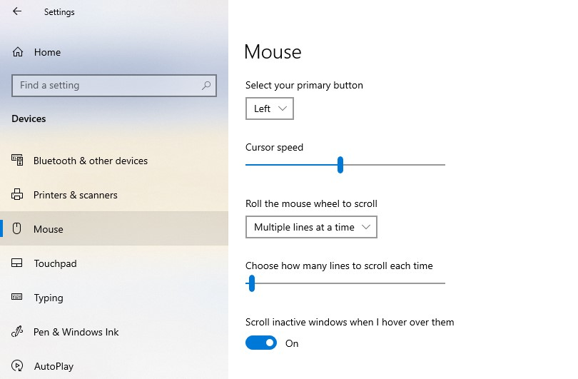 The mouse settings selected in the Windows settings' left pane