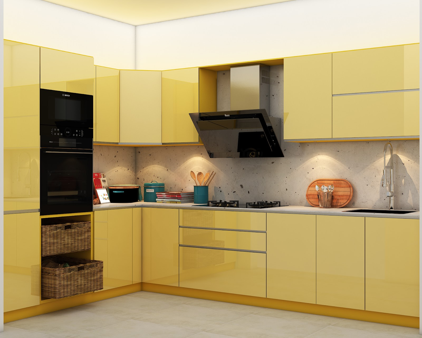 L-shaped kitchen layout