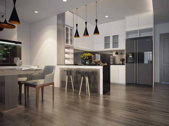 Phòng bếp chung cư với mẫu thiết kế hiện đại hơi hướng châu Âu