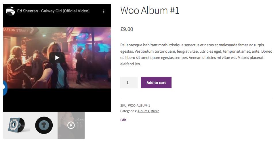 Video image gallery WooCommerce