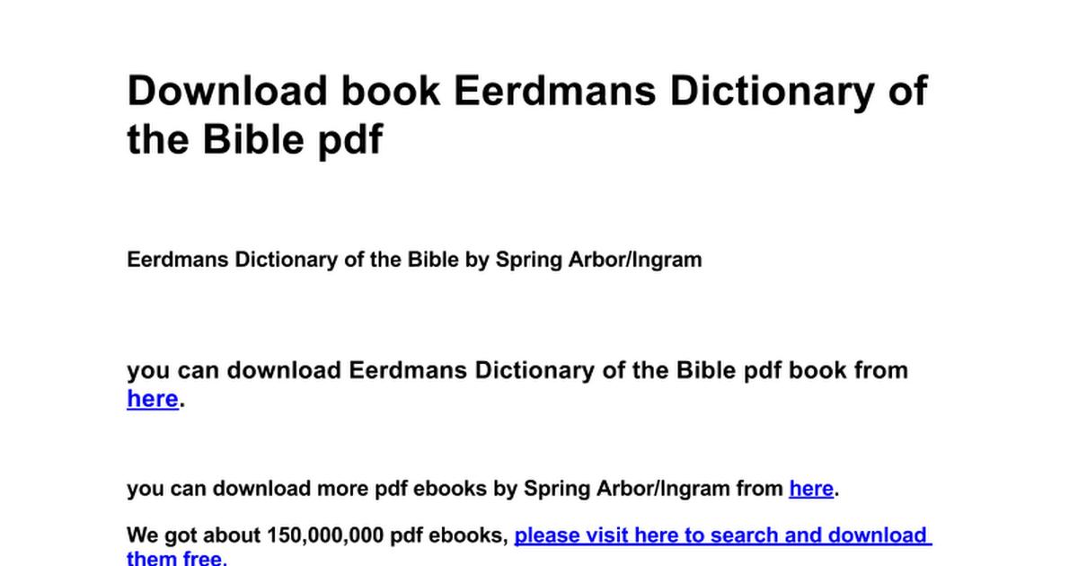 Eerdmans dictionary of the bible google docs fandeluxe Gallery