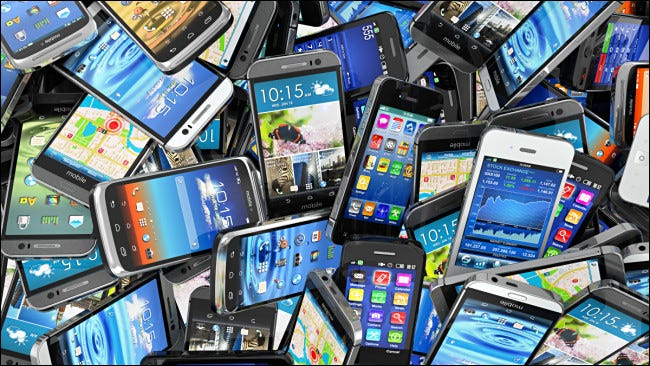 A pile of old smartphones.