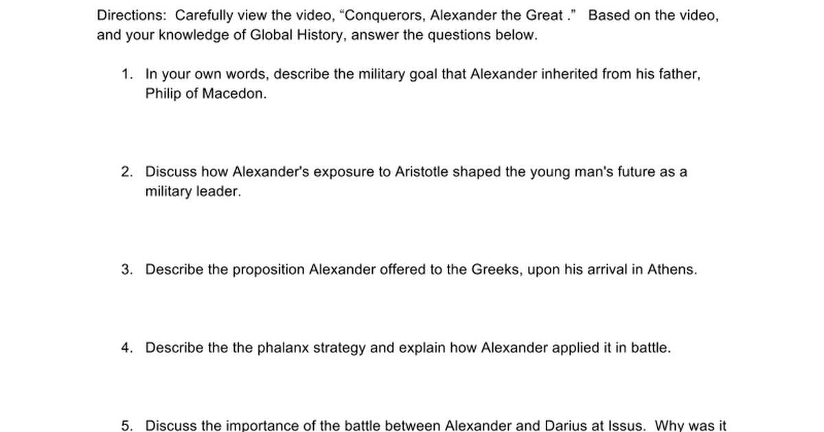 Conquerors Alexander the Great Video Worksheet Google Docs – Alexander the Great Worksheet
