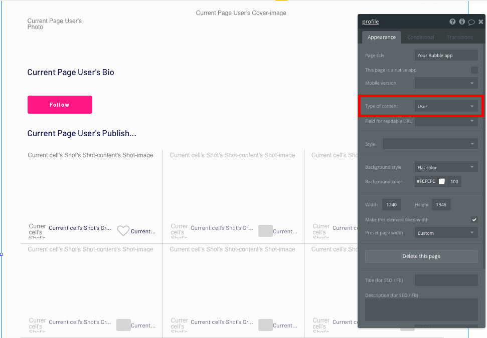 Configuring a Dribbble no code clone user profile page type