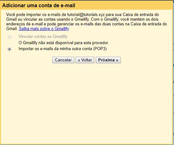 informações extras de adicionar conta de email no Gmail