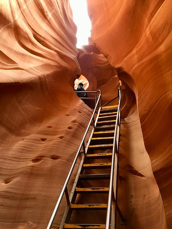 Going Up The Lower Antelope Canyon Stairs