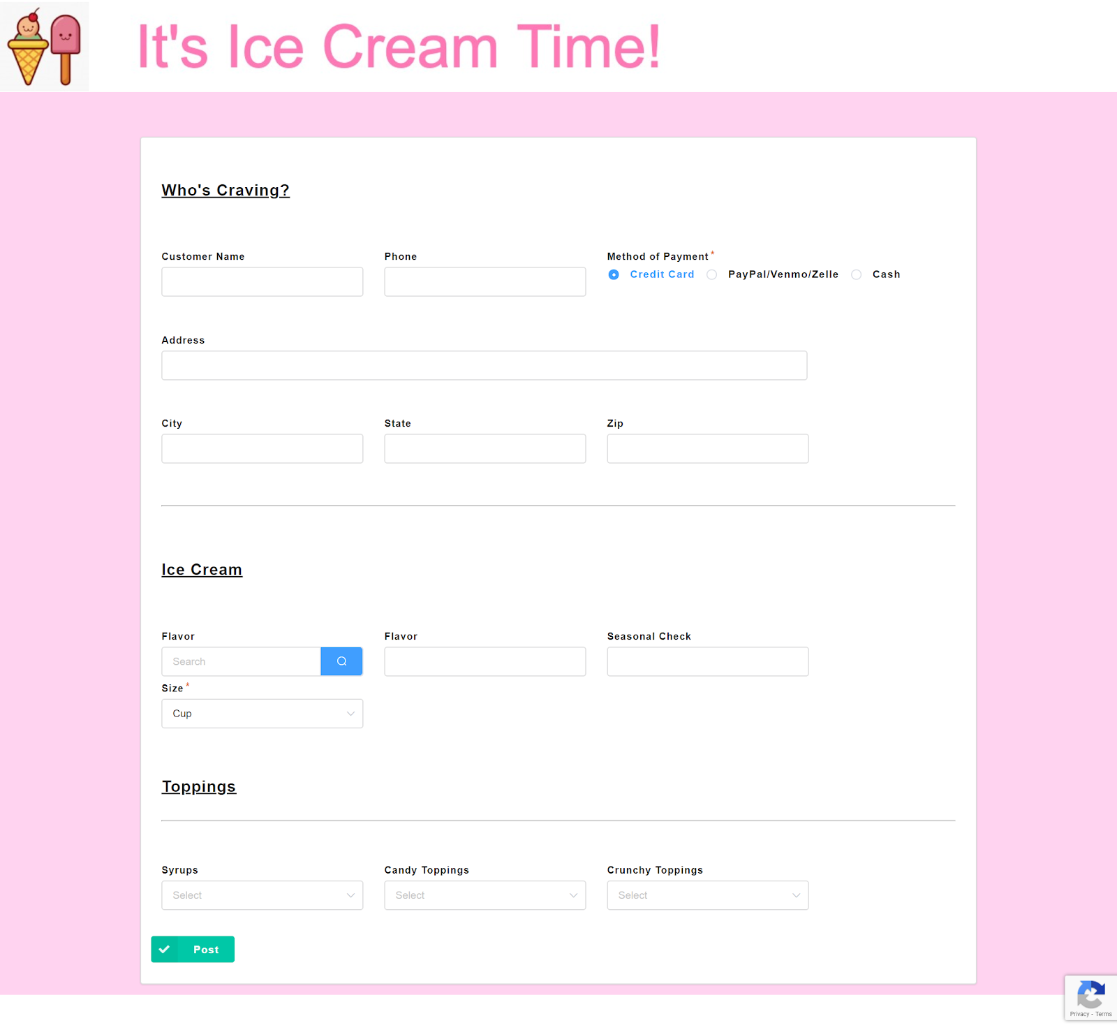 Ice Cream App - Kintone IF Function Challenge | This app allows ice cream business owners to automatically calculate the costs of orders submitted by customers, even those with a high number of customization requests.