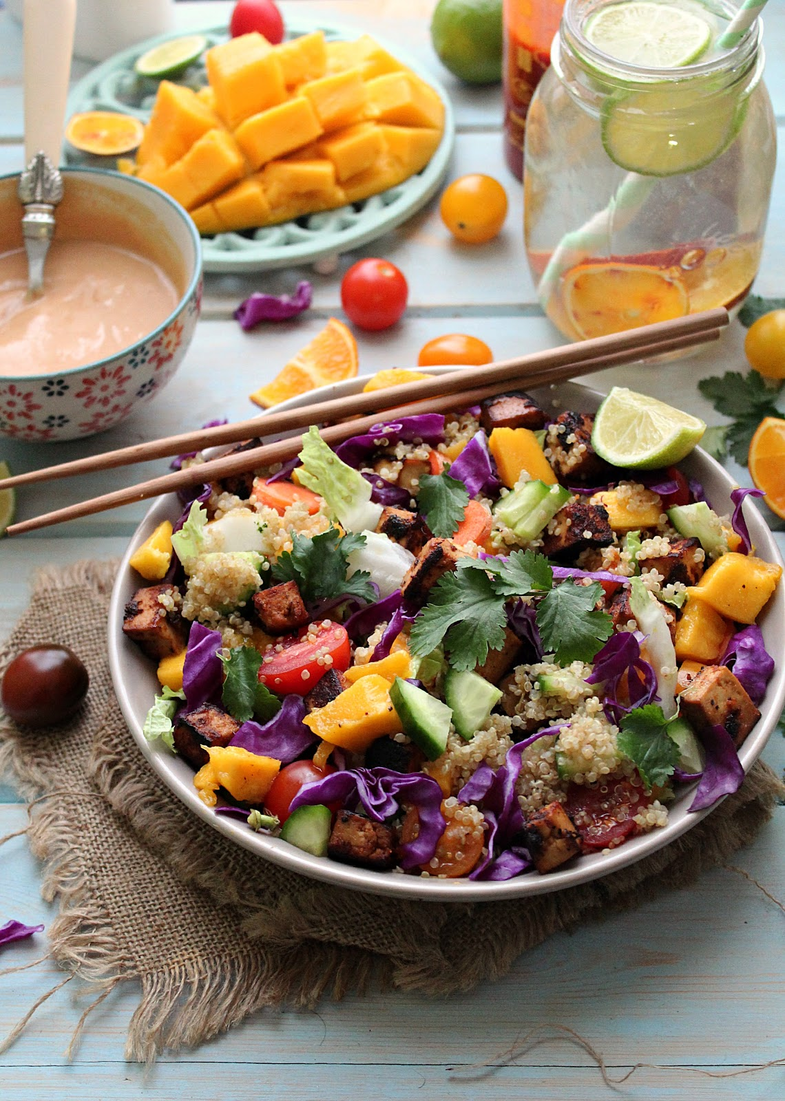 Thai Rainbow Quinoa Tofu Salad with Spicy Peanut Dressing