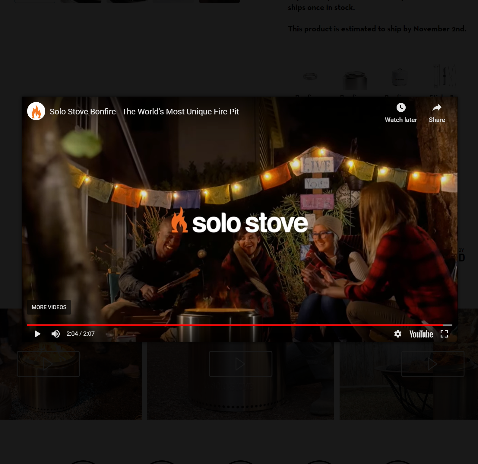 Screenshot of Solo Stove fire pit product video for creative marketing strategies
