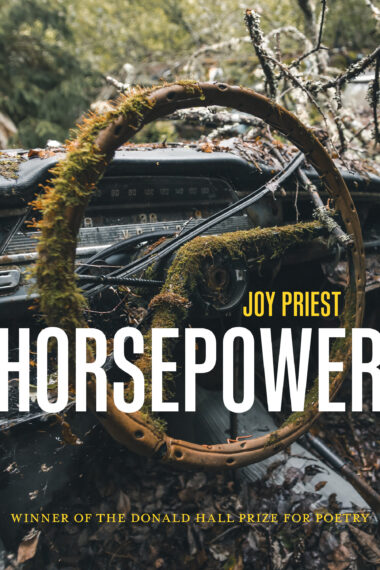 """Horsepower"" is in large white block lettering stretching the width of the cover, with ""Joy Priest"" right aligned in much smaller mustard yellow text above it. The background picture is of a steering wheel covered with moss, the black Volvo dashboard in the background with a tree limb coming through where the windshield should be. There are wet brown leaves on the driver's seat at the very bottom of the frame."