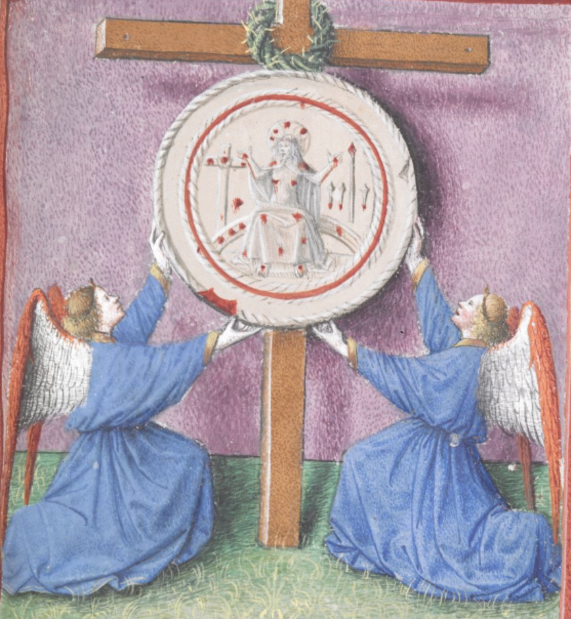 A round disk with blood spots and an image of a figure, all supported by two angels and in front of a cross with a crown of thorns around it.