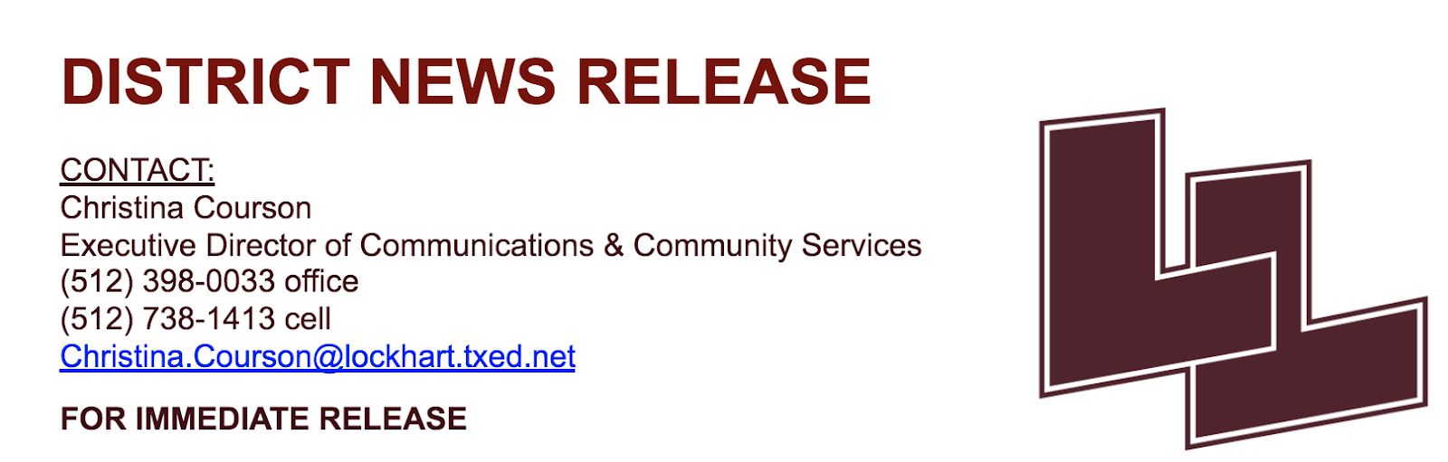DISTRICT NEWS RELEASE