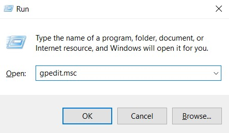 Open the Group Policy Editor. Launch the Run tool and type gpedit.msc.
