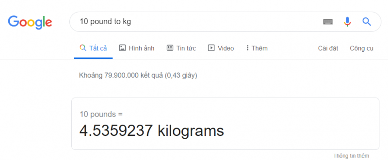 Chuyển đổi Pound sang Kg