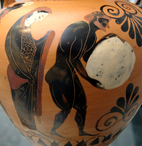 A Detail of an Ancient Greek Vase Depicts the Story of the Trickster Hero Sisyphus Who was Punished by the gods for Attempting to Cheat Death