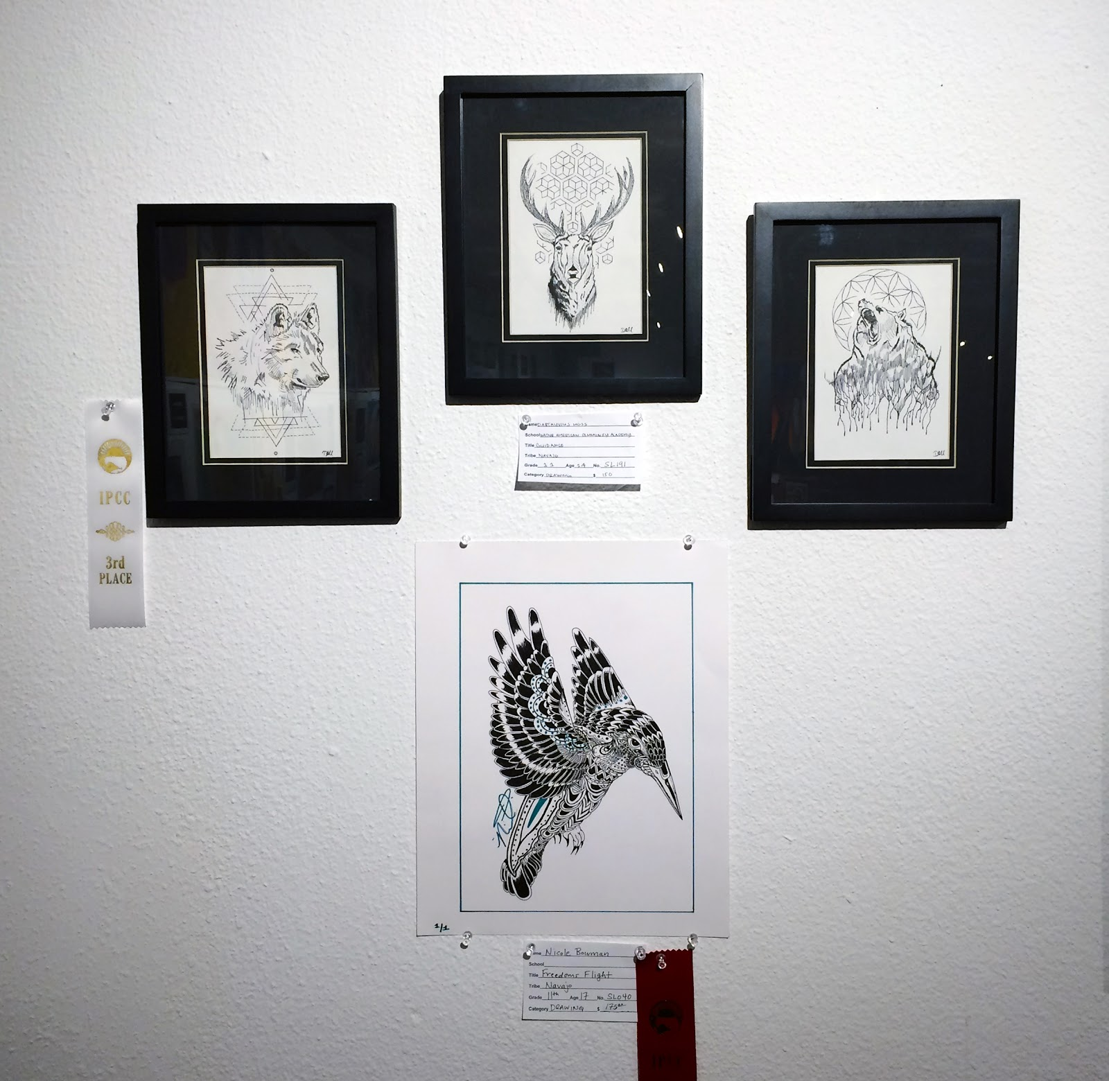 Impressive black and white prints at the Native American Student Art Show 2015 (credit: Indian Pueblo Cultural Center)