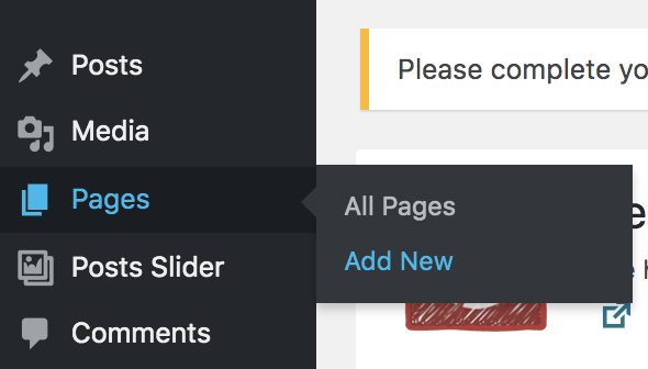Add pages to WordPress Site
