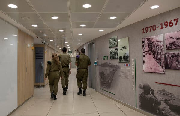Walls in the military command center include displays dedicated to each of Israel's wars.