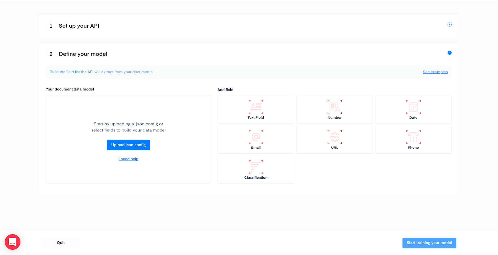 Mindee API Builder data model