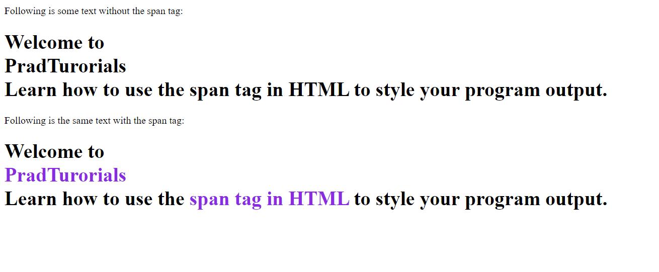 html span output