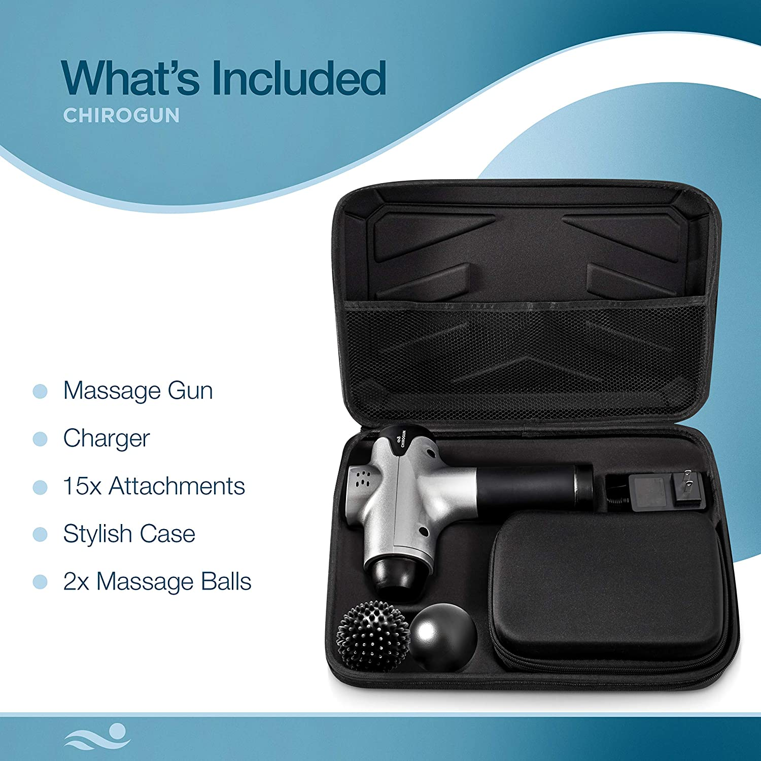 This are what are included in the Chiro Gun Massage gun and it comes with a hard-shell zippered case with various pockets to hold the contents in their place while traveling