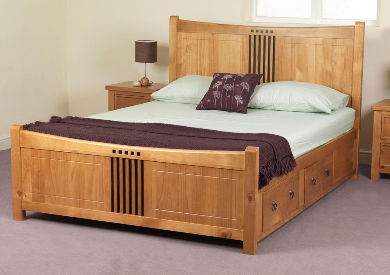 Giường Ngủ Gỗ tự nhiên tiện ích