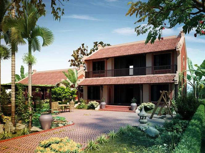 Thiết kế nhà 2 tầng nông thông phong cách truyền thống
