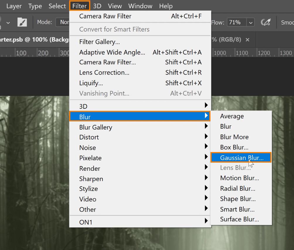 Choose Filter > Blur > Gaussian Blur.