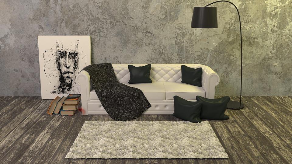 Design kamer met tapijt