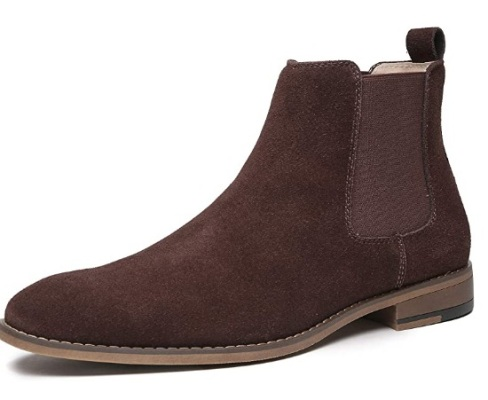 Chelsea Slip-on Suede Boots for Men Genuine Leather Dress Boots